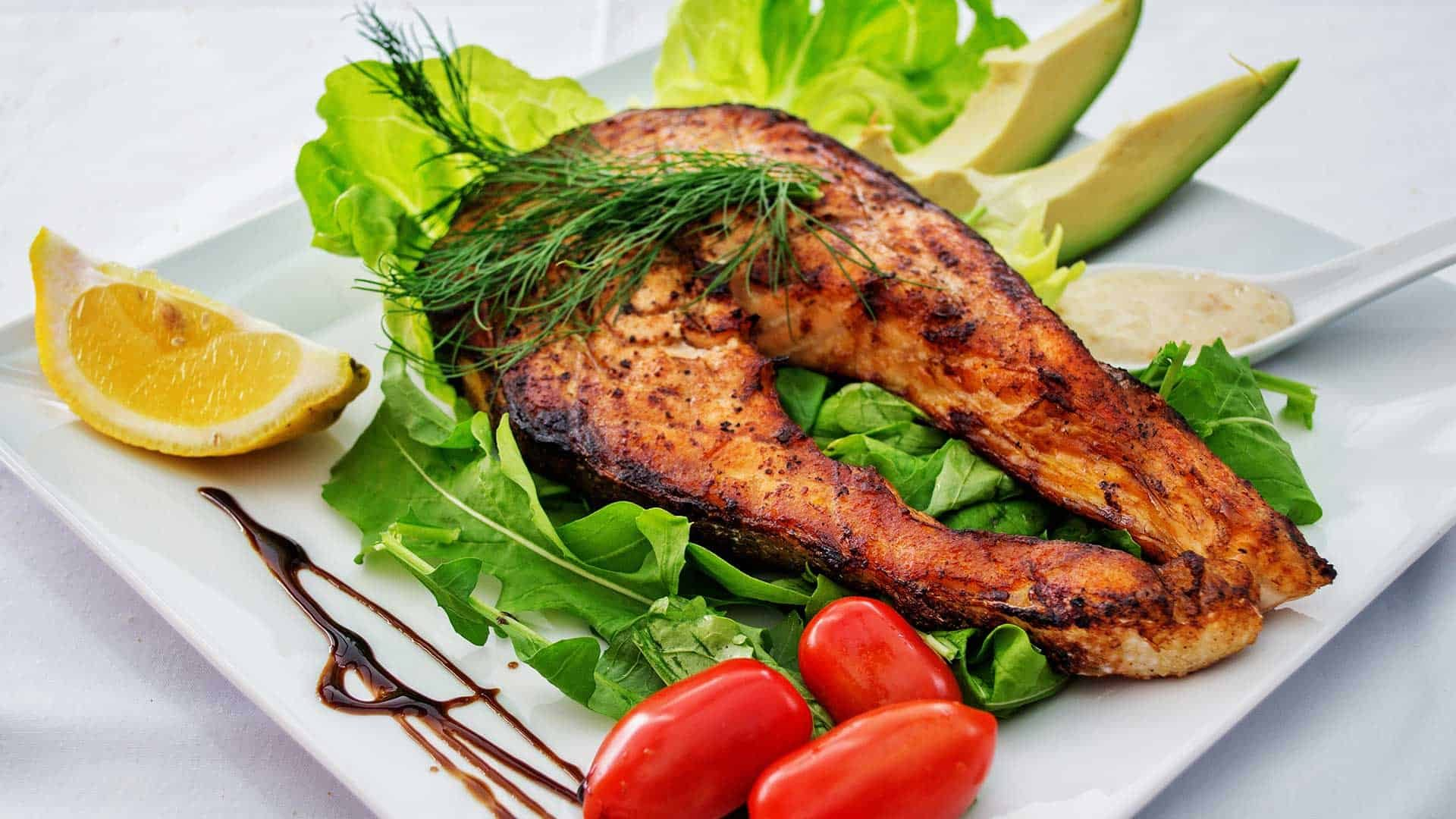 Grilled fish and avocado salad made in NOLA